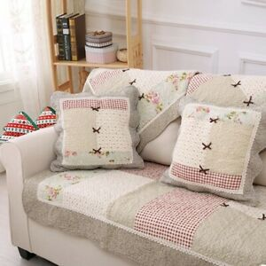 Cotton Sofa Cover Small Floral Splicin Country Style  Non Slip Cushion Backrest