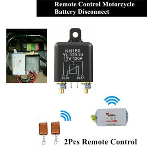 Dual Remote Wireless Motorcycle Battery Disconnect Cutoff Master Kill Switch 12V