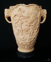 Large Composite Oriental Elephant Handled Vase 32cm Tall | FREE Delivery UK*