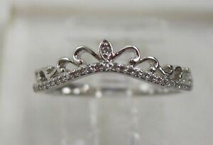 14K White Gold Diamond Tiara/Crown Ring Size 6.75