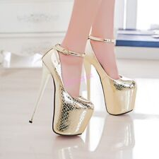 New Womens Shoes Shiny Leather  Night Club Super High Heels Platform Strap Party