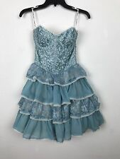 Betsey Johnson Dress Size XS S Soutache Ribbon Layered Blue Chiffon Tulle