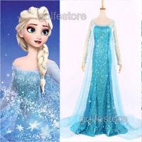 Frozen Movie Elsa Queen Blue Fairy Dress Adult Women Dress up Costume Cosplay