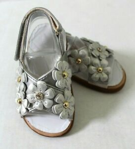 UGG Allaire Shimmer Floral Silver Faux Leather Baby Sandal Size 4/5