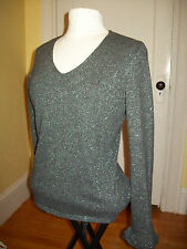 Ann Taylor $169 Sparkly Cashmere Metallic Sweater size Medium Gray