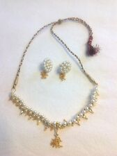 New! Necklace And Earrings Handmade In India, Gold/Red/White, Crystals, Pearls