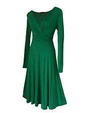 Vintage Style Long Sleeved Calf Length Evening Formal Party Dress Sizes 8 - 24 14 Emerald Green