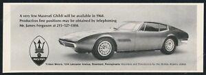 1968 Maserati Ghibli car photo vintage print ad