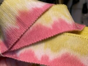 "Vintage Cotton Rayon 7/8"" Petersham Ribbon Pink Lemonade 1yd Made in France"