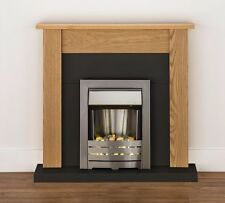 ELECTRIC BLACK WOOD OAK SURROUND SILVER PEBBLE MODERN WALL FIRE FIREPLACE SUITE