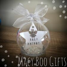Personalised Bauble Tree Decoration Heaven Angel Baby Feather Memorial