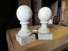 "PAIR VICTORIAN era cannon ball wooden fence post cap FINIALS ~ 10""h x 5.75 dia"
