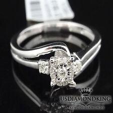 Ladies New 10k White Gold Genuine Real Diamond Bridal Wedding Engagement Ring S7