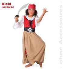 Fasching Piratenmädchen Piratin Kleid mit Gürtel Gr. 140 Karneval Kostüm NEU