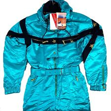 Womens Ski Snowmobile Suit Size 42 Teal Vintage 80s 90s Kitex New *Retail $575*