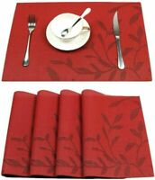 Placemats PVC Washable Heat Resistant Woven Anti Slip Dinner Table Mats Red Leaf