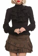 NWT Hot Topic Spin Doctor Jabot Black Ruffle Shirt Blouse Steampunk Small