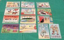 Vintage Lot 13 Linen Comic Humorous Postcards Military Children Birds Gremlins +