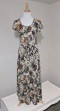 90s Medium Maxi Dress Button Down Cat Lion Tiger Print Scoop Neck La Fete