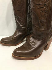 Vintage 70s Miss Capezio Brown Leather Stitched Cowboy Boots Stacked Heel 7.5