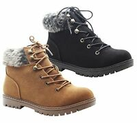Ladies Womens Grip Sole Winter Hiking Ankle Fur Combat Boots Trainers Shoes Size