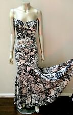 ROSE DESIGN FITTED BOMBSHELL PIN UP DECO MERMAID SPLIT FRONT MAXI DRESS GOWN  4