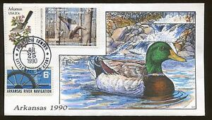 1990 Little Rock Arkansas Black Duck & Mallards Hand Painted Cover FDC Stamp #10