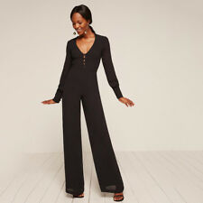 Reformation Camellia Jumpsuit Black Wide Leg V Neck Long Sleeve Billow Button 4