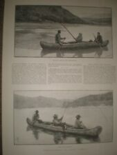 SALMON FISHING RESTIGOUCHE RIVER GAFF ANTIQUE FLY ROD TACKLE INDIAN GUIDE CANOE