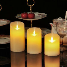 3 Pcs Flameless LED Battery Candles Battery Powered Lights Wedding Xmas Church