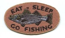 EAT, SLEEP, GO FISHING striped bass green/grey EMBROIDERED IRON-ON PATCH