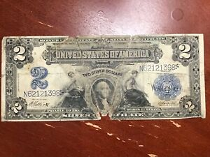 1899 $2 SILVER CERTIFICATE MINI PORTHOLE HEAVILY WORN AFFORDABLE TYPE NOTE