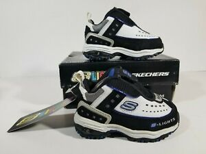 NEW Skechers Lights Energy 2 Toddler Boys Athletic Shoes Size 3C White/Royal