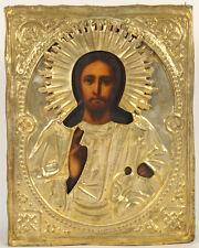 c.1890 ANTIQUE RUSSIAN ORTHODOX RELIGIOUS ICON JESUS CHRIST EMMANUEL IN OKLAD