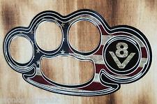 Oldschool Aufkleber Rockabilly V8 Schlagring USA Fahne Flag Sticker Pickup Chevy