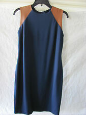 Ralph Lauren Navy Ponte & Leather Sleeveless Sheath Dress- Size 2  NWT $219