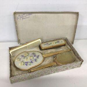 Vintage 4 Pc Dresser Set - Mirror, Comb, Brush Brush Comb  Made in England #655