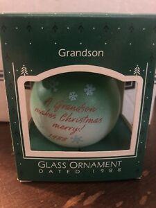 Vintage Hallmark Keepsake Glass Ornament 'Grandson' 1988