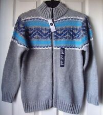 BRAND NEW GAP KIDS FAIR ISLE MOCKNECK FULL ZIP SWEATER GREY SIZE XL (12YRS)