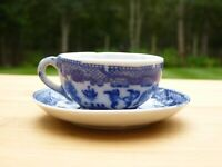 Antique Blue Willow Transfer-Ware Mini Cup & Platter
