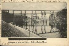 Clinton MA Dam & Railway Bridge c1905 Postcard