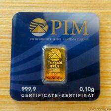 Lingotto oro 0,10 grammi PIM 999,9 Oro Lingotto 0,1g 0,10g LBMA certificata NUOVO OVP