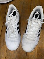 Adidas white sneakers size 4 in kids shoes