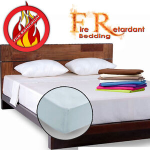 Fire Flame Retardant BS 7175 Crib7 Fitted Platform Valance Sheets 100% Polyester