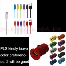 ONE Color Micro USB Cable+Color USB Car Charger for Galaxy S6/Note4/S4/S3, HTC