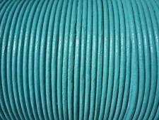 50 mètres cordon cuir / lacet cuir bleu turquoise Ø 1,5 mm très bonne qualité