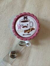 I Love Coffee Retractable Reel ID Badge Holder, Lanyard Hook Cute Mug
