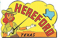 Hereford, TX- Vintage-1950's Style Travel Decal/Sticker