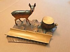 Antique Carved Wooden Deer Ink Well and Pen Rest early 20th C. Czech