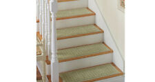 Stair Treads Carpet Non Slip Set of 8 SAGE Washable Latex Backing Green